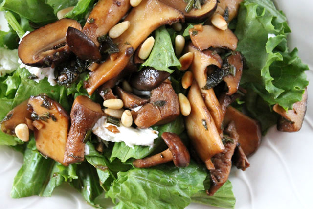 warm mushroom goat cheese and pinenut salad close up