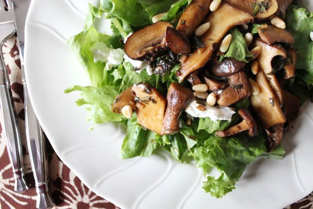 warm mushroom goat cheese and pinenut salad