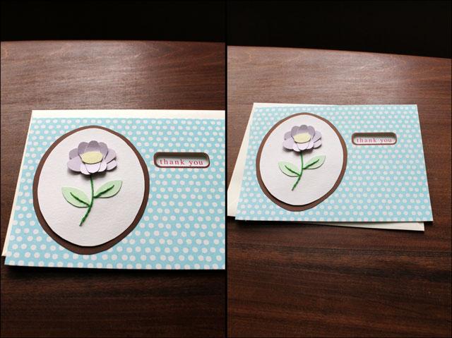 1 handmade thankyou card