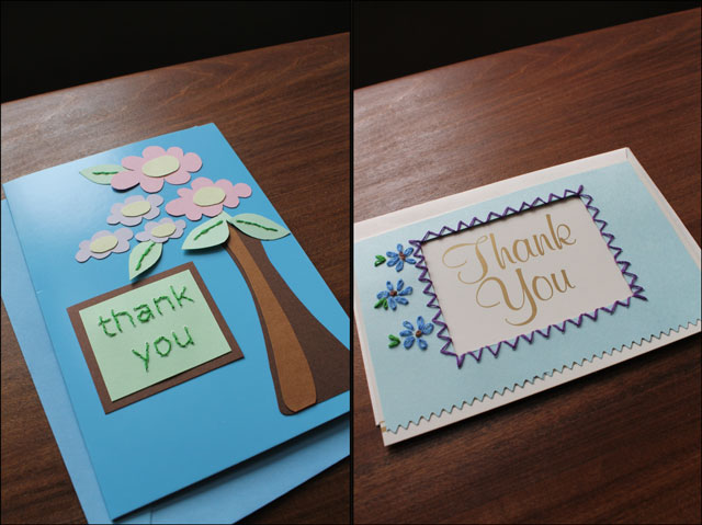 2 handmade thankyou cards