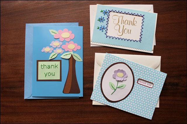 3 handmade thankyou cards