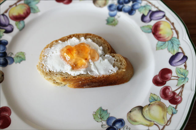 bread spread with chevre an