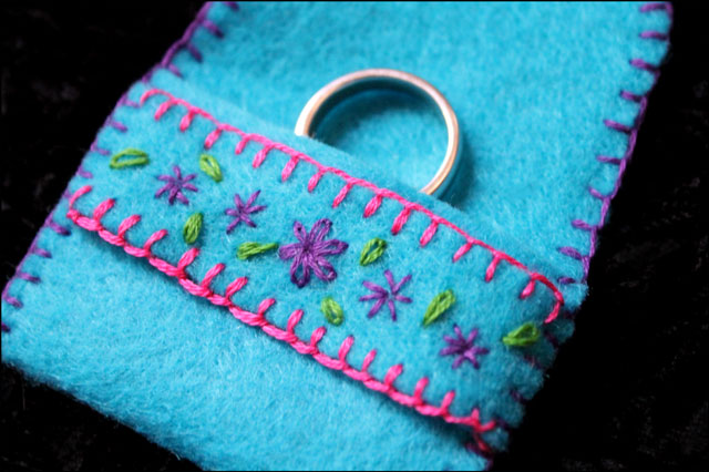 embroidered felt ring pouch