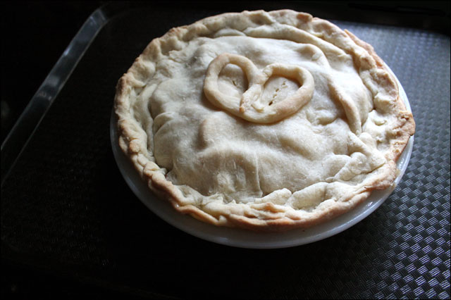 apple pie with a heart on i