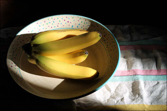 bananas in dot bowl