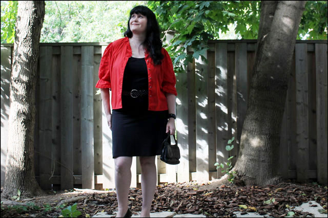 red blouse with purse