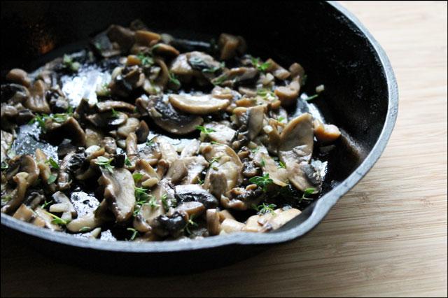 sautee mushrooms and garlic