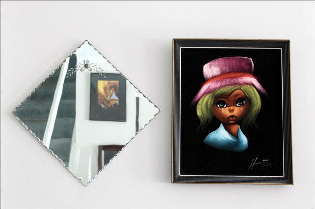 vintage mirror and velvet p
