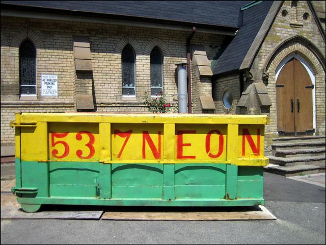 dumpster outside church