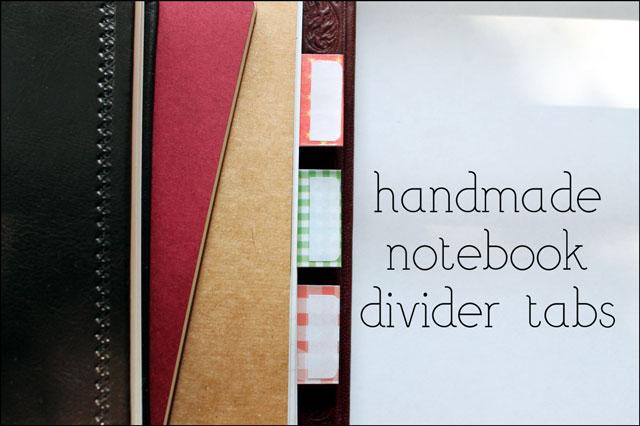 handmade notebook tab divid