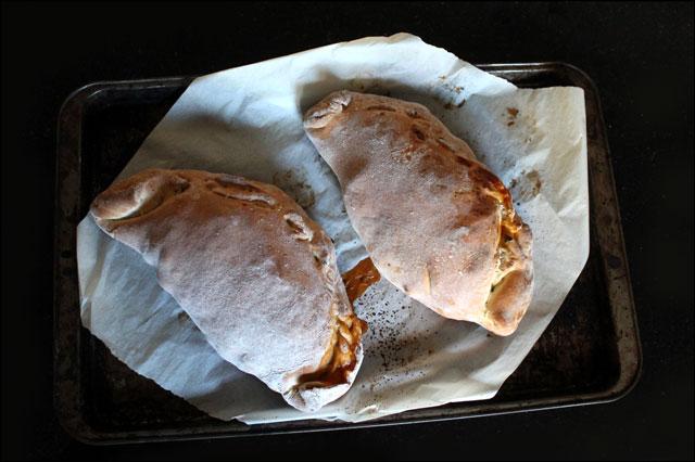 homemade baked calzone
