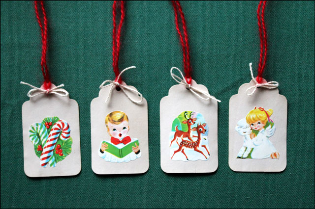 diy gift tags using vintage