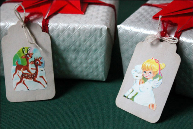 gifts wrapped with diy tags