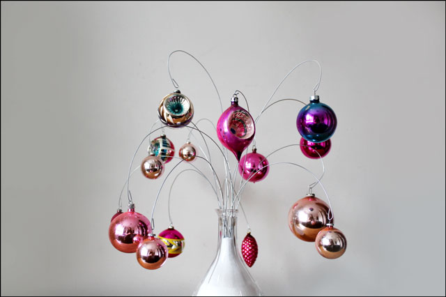 pink vintage ornaments on d