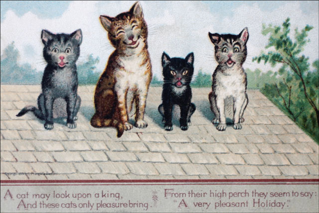 cats-and-poem-on-vintage-New year postcard