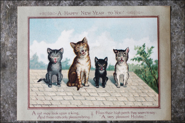 vintage cats new years post