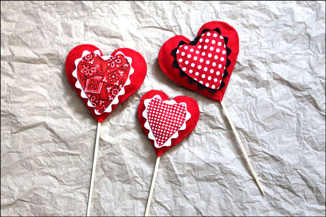 diy valentine decorations cotton and felt hearts on picks to put in plants
