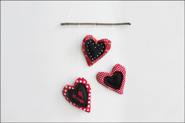 handmade cotton and felt heart decoration wall hanging