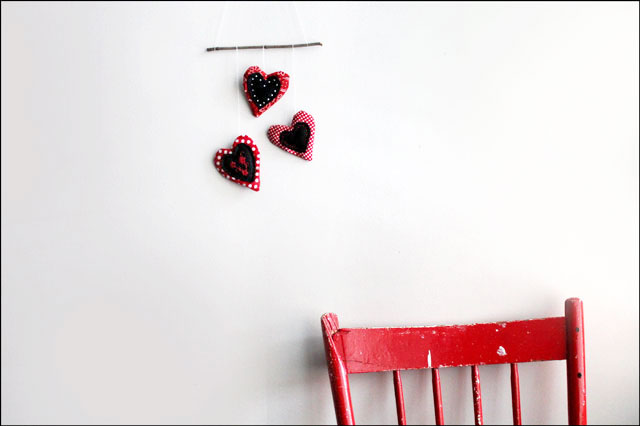 handmade valentine decoration cotton and felt heart wall hanging