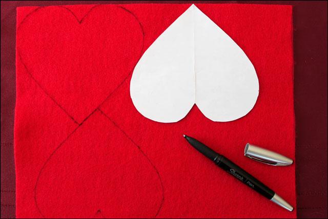 tracing hearts on felt