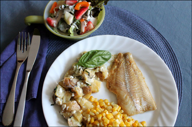 basil-potatoes-with-fish-dinner