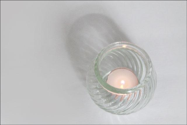 thrifted tea light jar