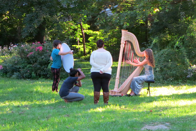 photographing-harp-player