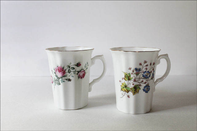 thrifted bone china mugs