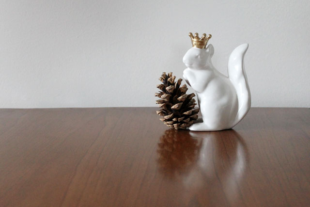 ceramic squirrel with crown