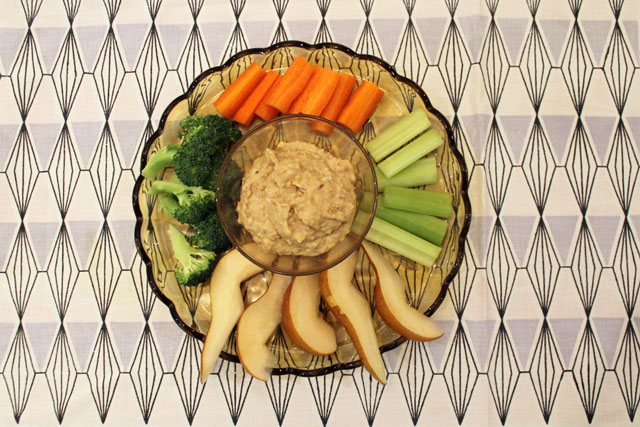 curried bean dip and veggies