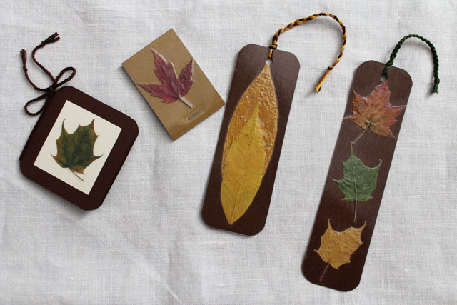 diy with pressed leaves