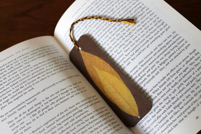 handmade bookmark using pressed leaves