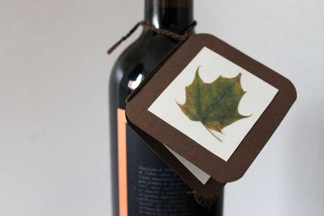 handmade giftcard with pressed leaf