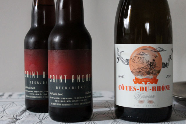 saint andre beer and xavier cote du rhone wine