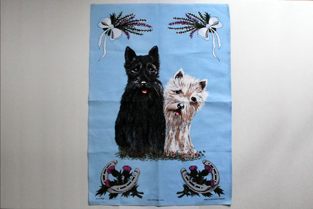 thrifted dogs tea towel
