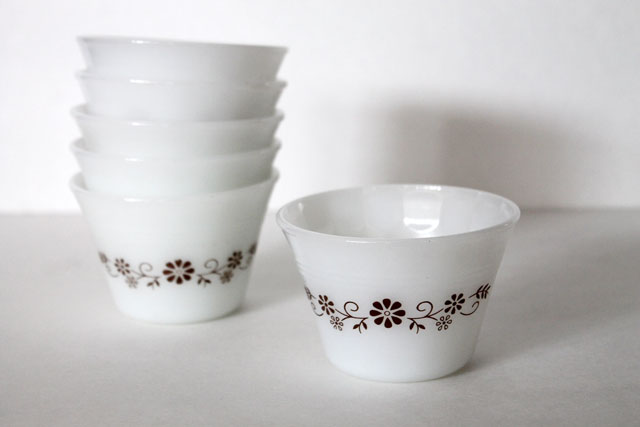 thrifted small milkglass bowls
