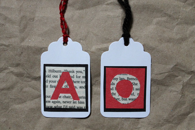 diy gift tag book page initials