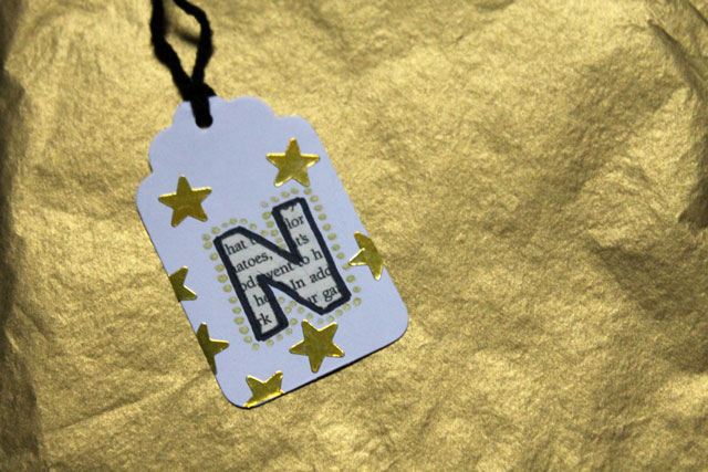 diy gift tags gold stars initial