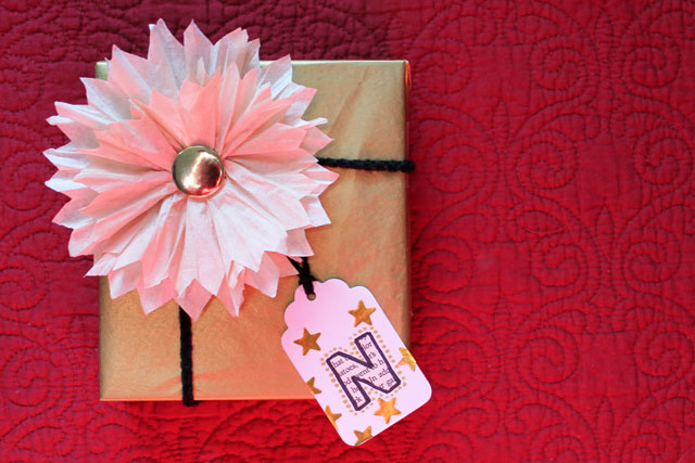 gift wrapped with diy tag and flower