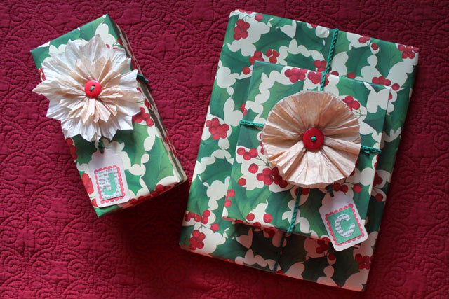 gifts wrapped with coffee filter flowers