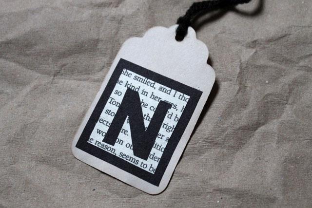handmade inital gift tag