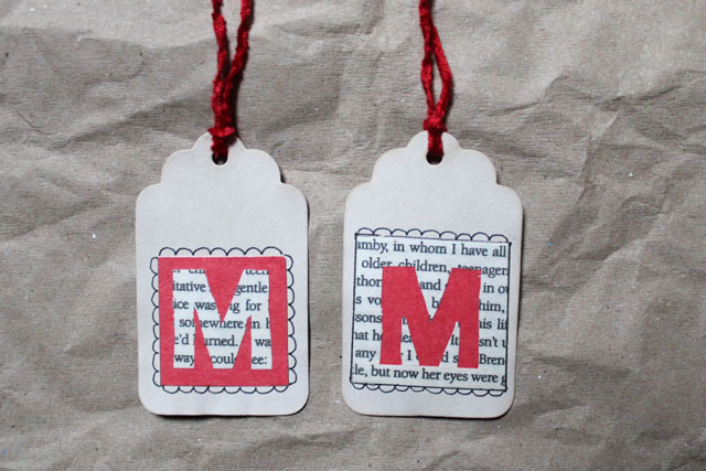 handmade initial gift tags book page