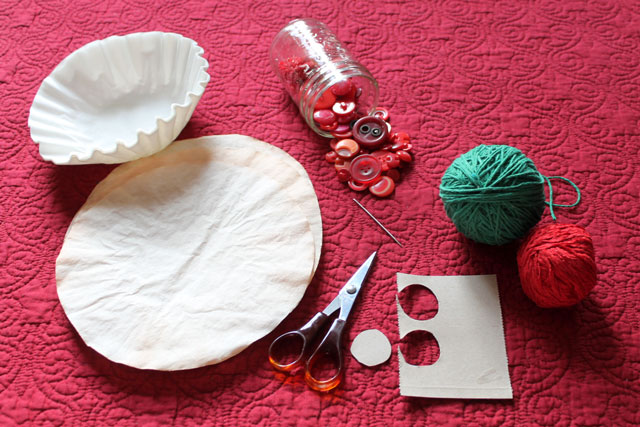 supplies to make coffee filter flowers