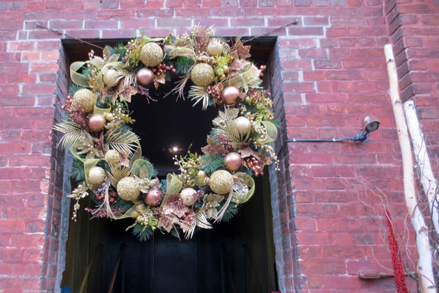 wreath at christmas market toronto