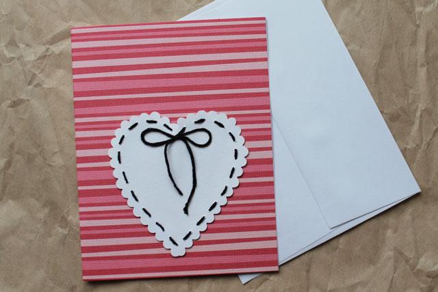 handmade valentine stitched paper heart