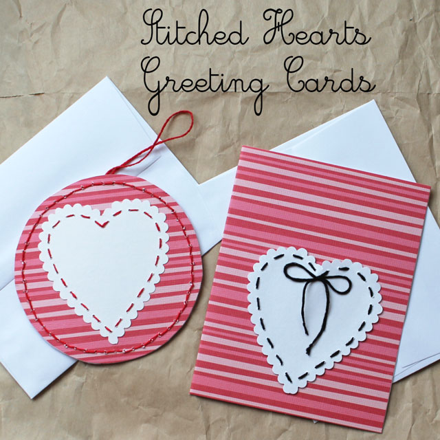 stitched heart greeting card diy