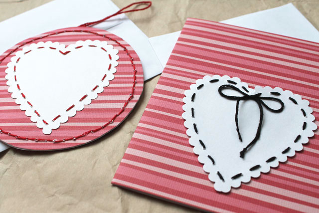 stitched paper heart valentines diy