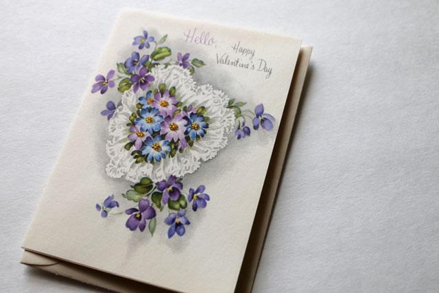 vintage valentine card hello