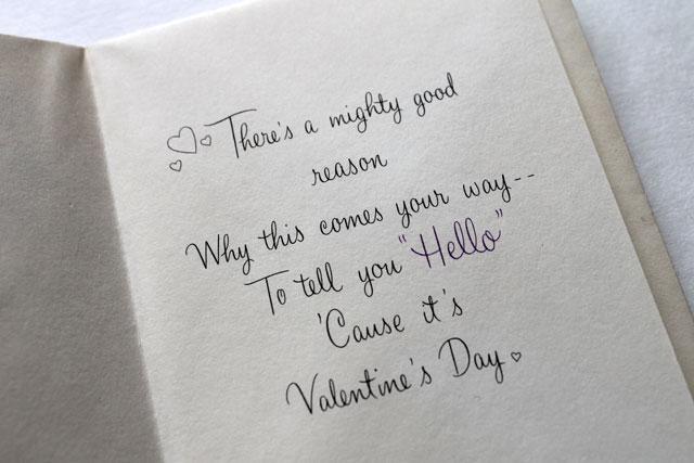 vintage valentine hello inside