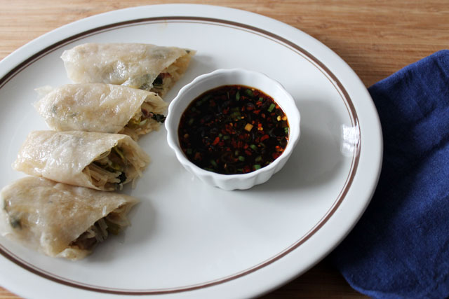 Asian Dipping Sauce Served With Baked Spring Rolls